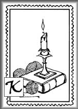 Book and Candlestick Stamp